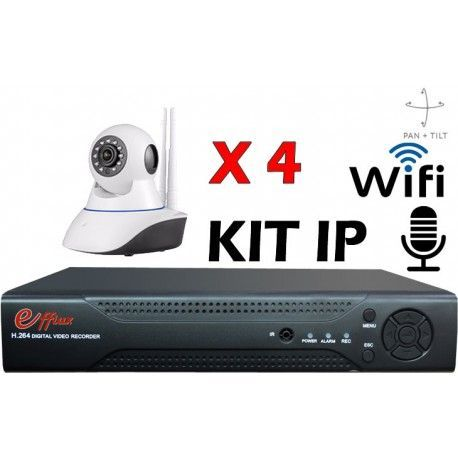 4EFXIP212 KIT CCTV IP WIFI 4 DOMO MOTORIZADAS